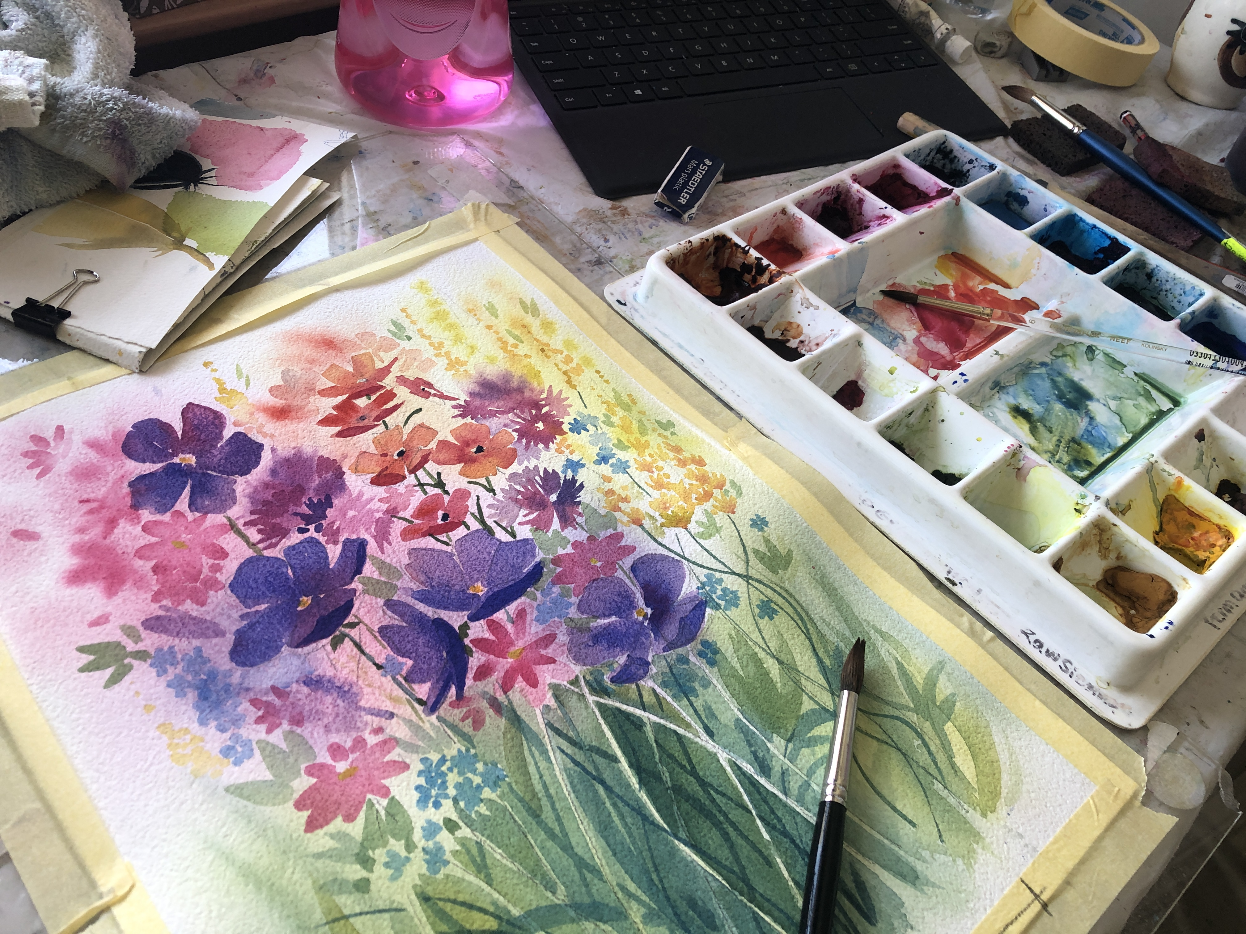 Watercolour Painting of Flowers by Jenny Gilchrist and Northern Beaches Watercolour Online Courses