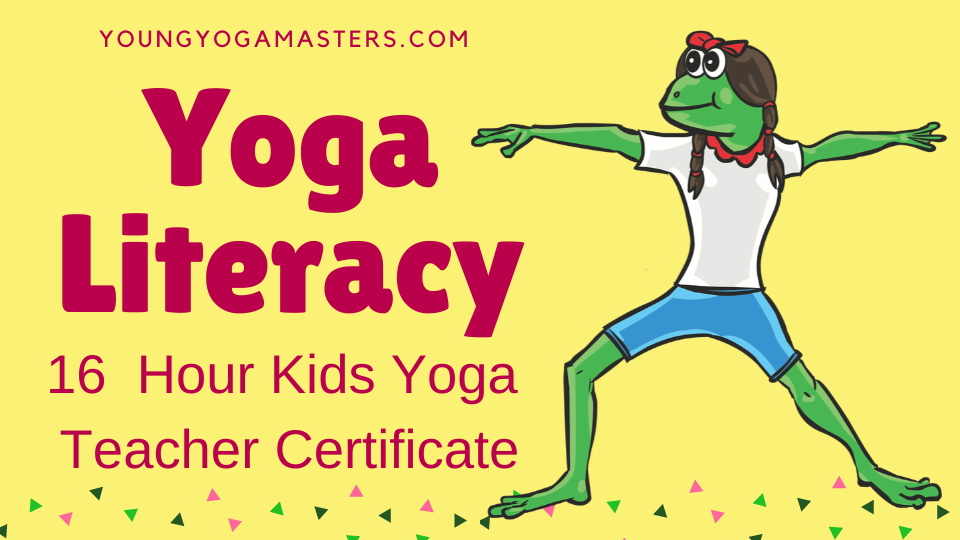 Yoga Literacy Kids Yoga Teacher Trainer with a frog doing warrior 2 pose