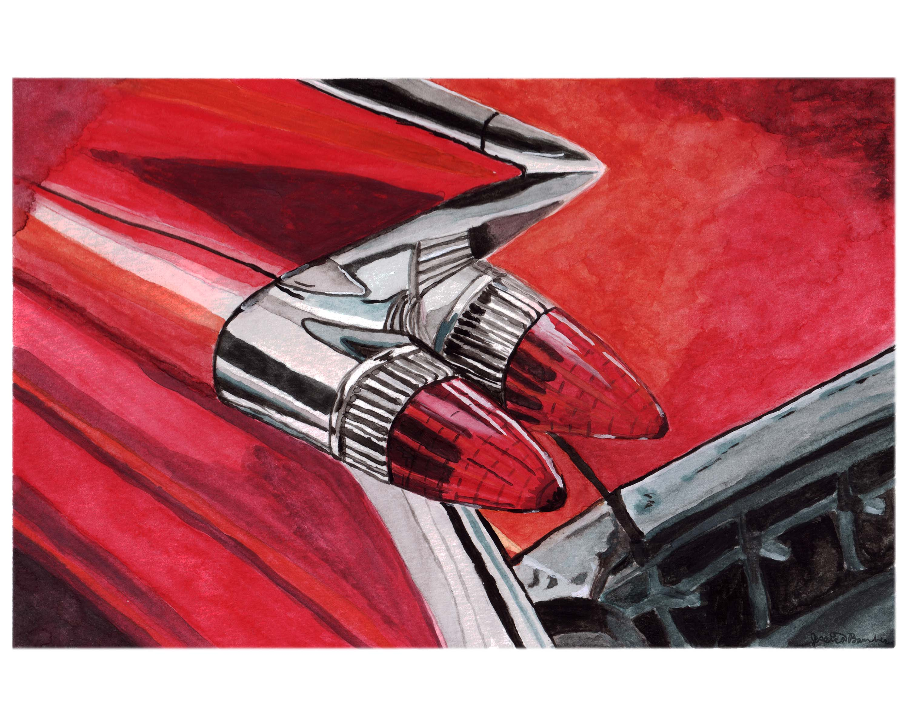 Watercolor Painting of Classic a Cadillac by Jessica Keeney
