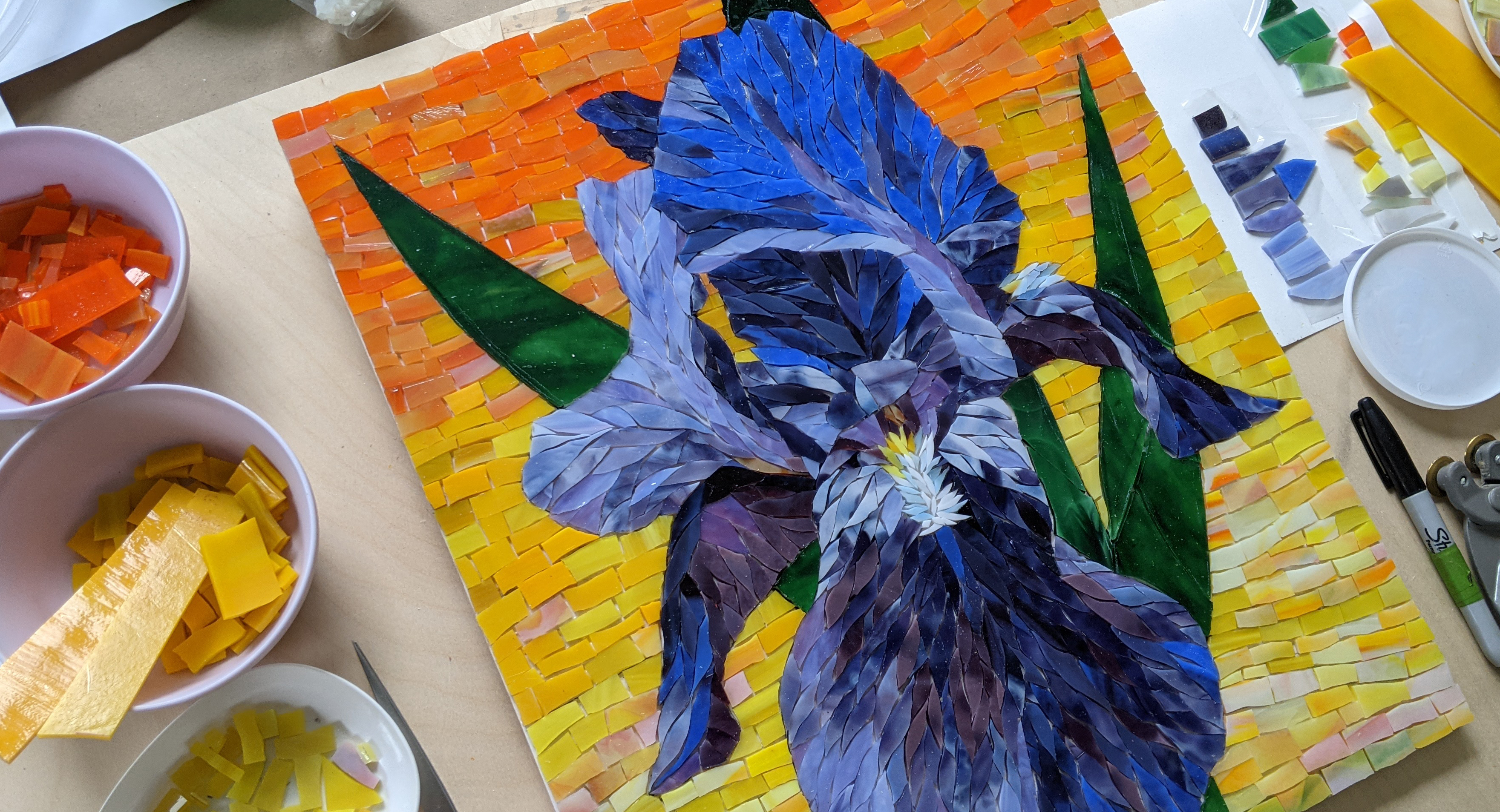 Iris Flower Mosaic with Yulia Hanansen