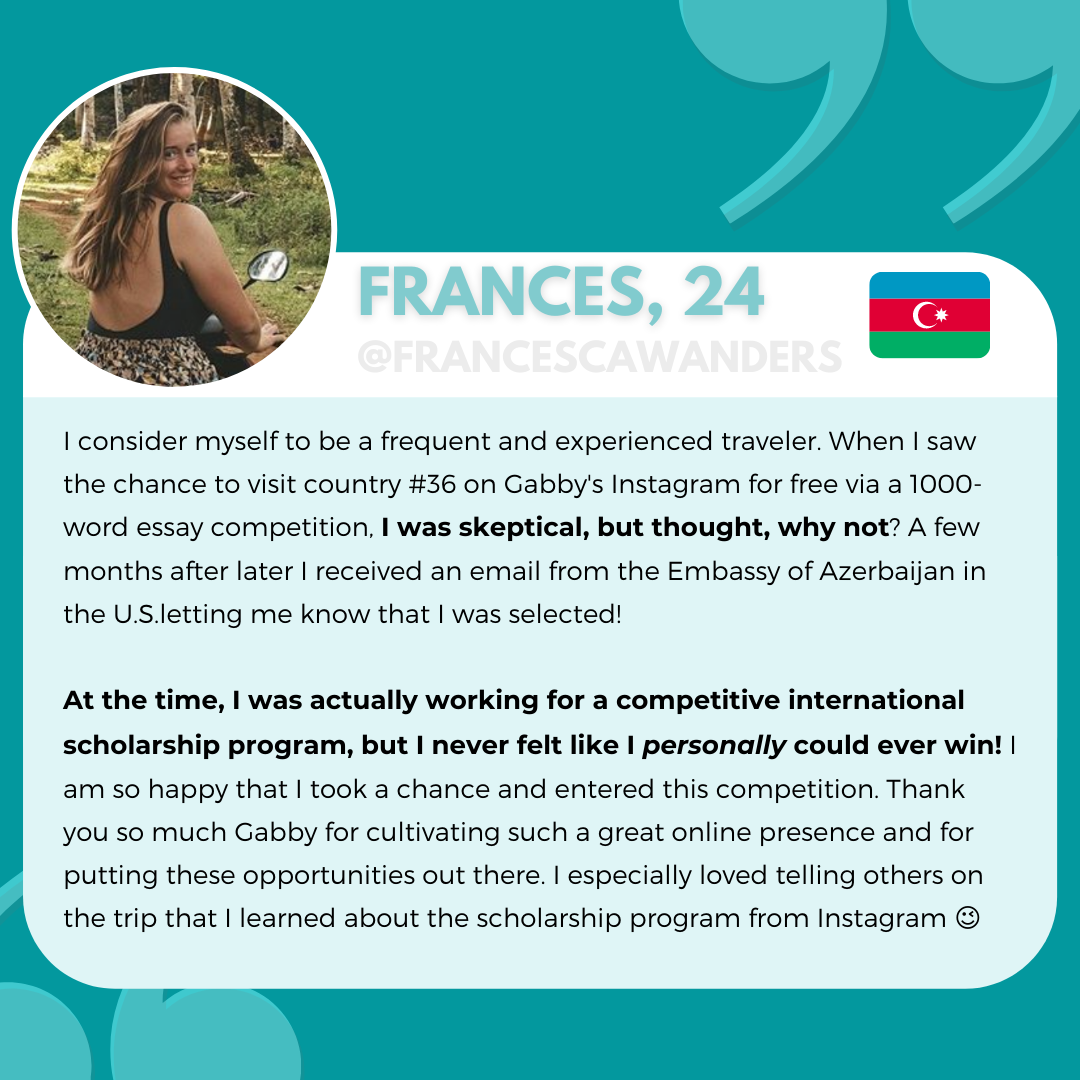 Frances, Tips to Winning Study Abroad Scholarship