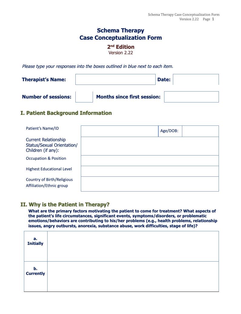 case conceptual form - schema therapy