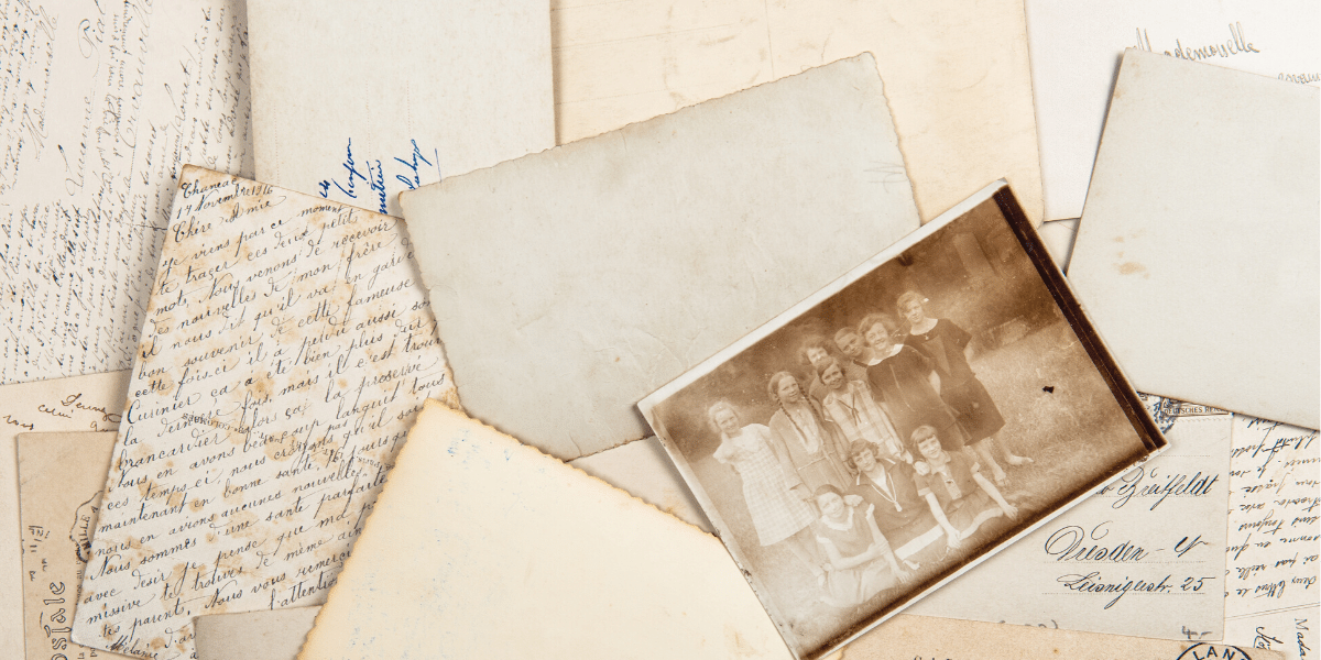 antique letters, documents, and photos