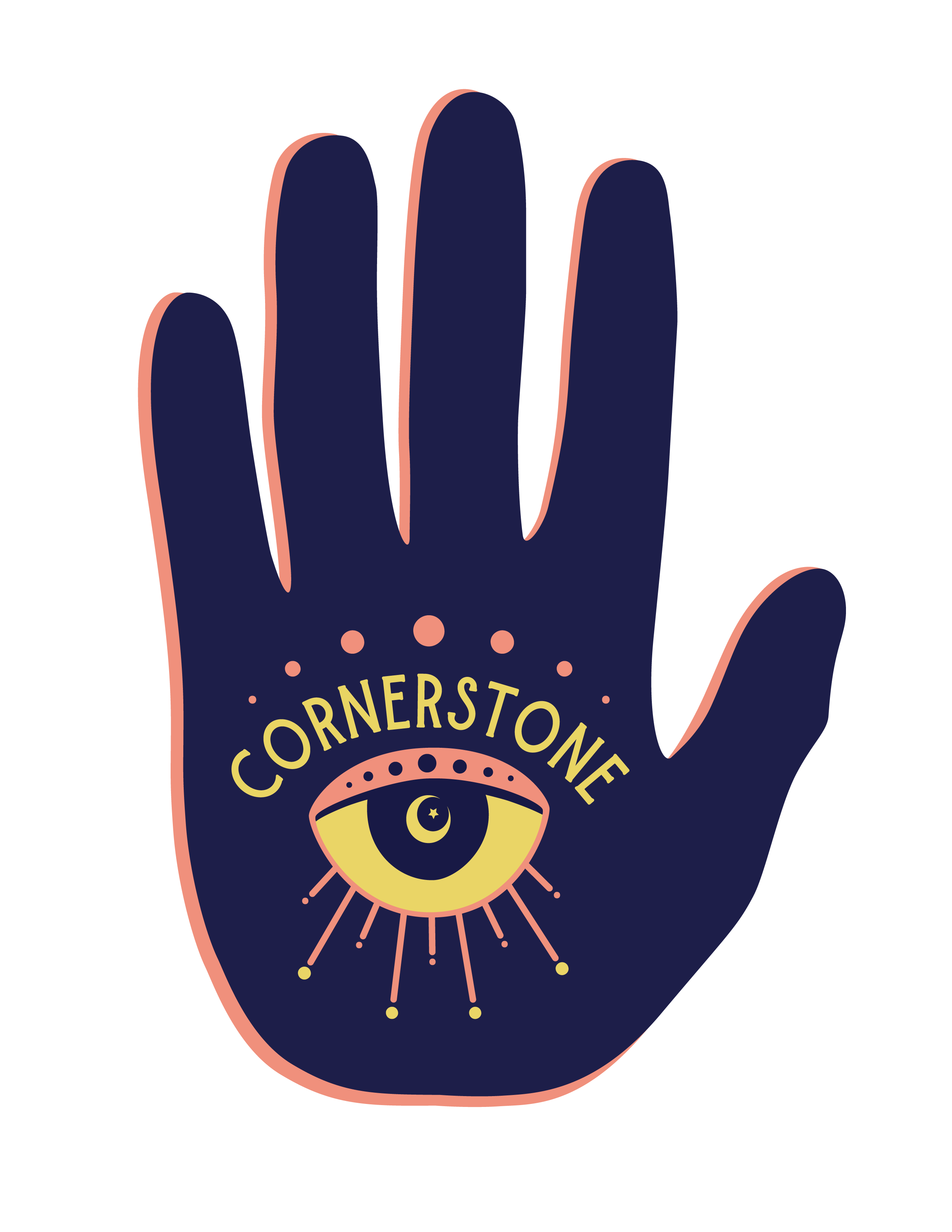 Cornerstone logo - dark blue hand with peach dots under the fingers, cornerstone in yellow with a yellow and peach eye underneath in the palm of the hand. A yellow moon and star is in the iris of the eye.