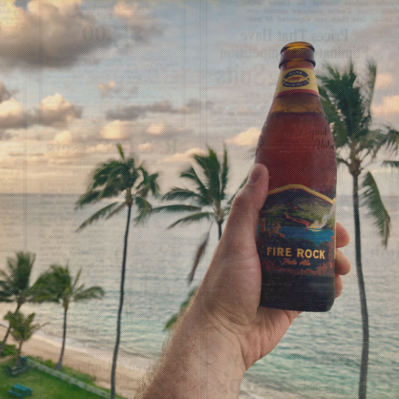 Working in Hawaii, having a beer