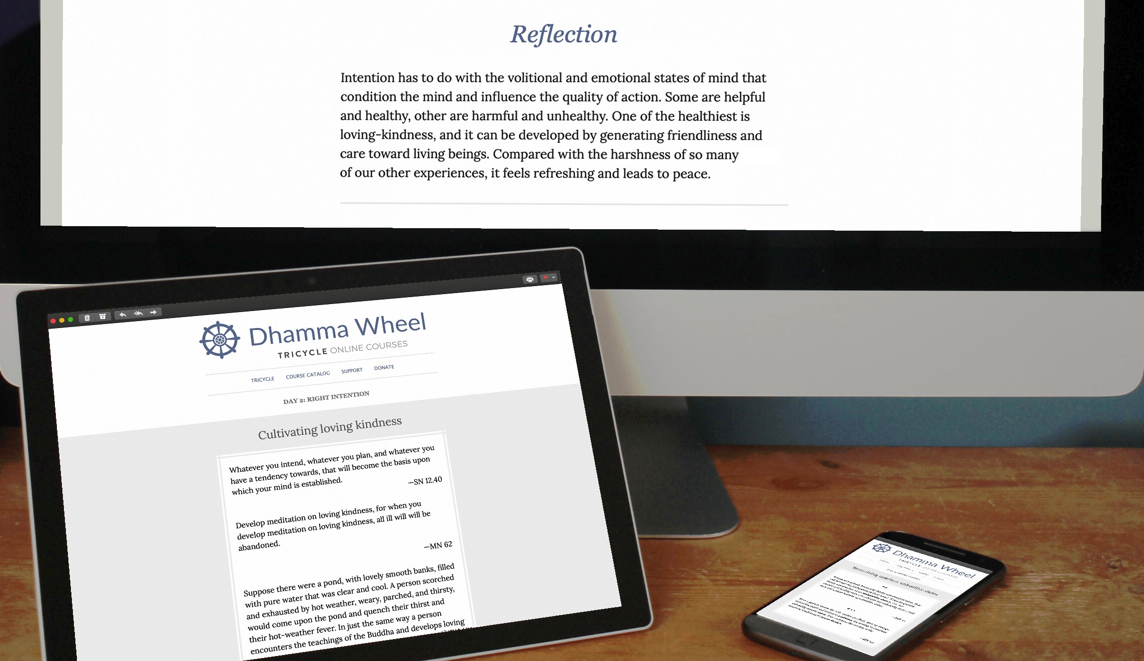 Dhamma Wheel email displayed on computer, tablet and mobile phone.