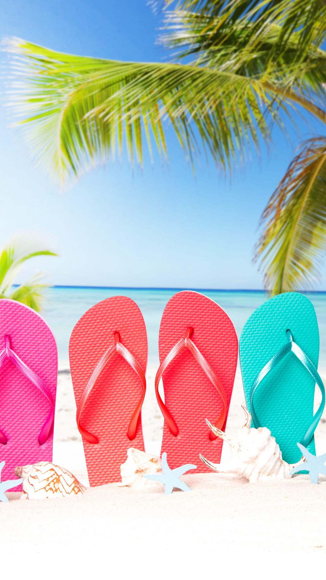 Flip flops in sand at the beach