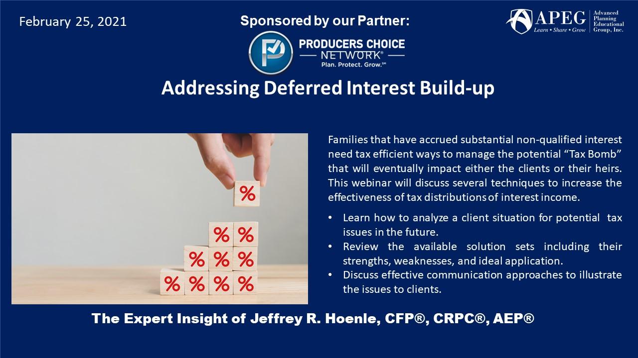 APEG Addressing Deferred Interest Build-up