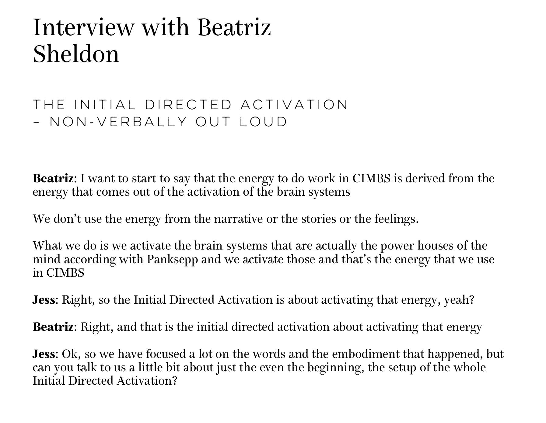 Transcript of an interview with Beatriz Sheldon