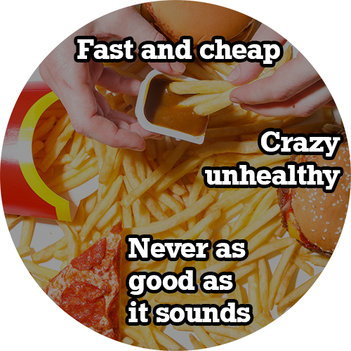 fast food with text overlay