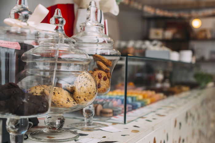 Business help for bakers and sweet treat makers. This is an image of a bakery display case.