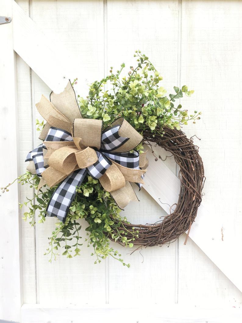 Burlap bow door wreath
