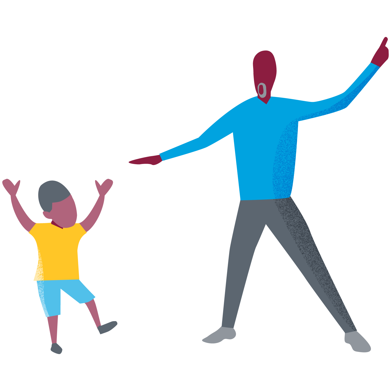 man and boy dancing
