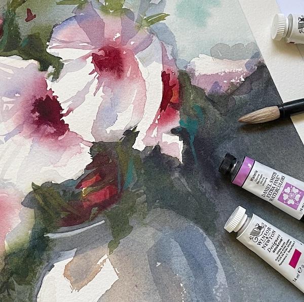 Akvarellikurssi märkää märälle kukkamaalaus