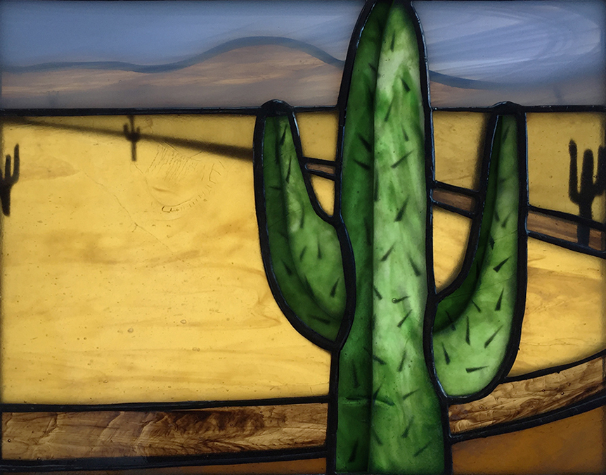 stained glass plating magic cactus landscape