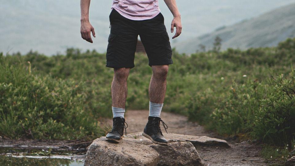 Mans legs in shorts