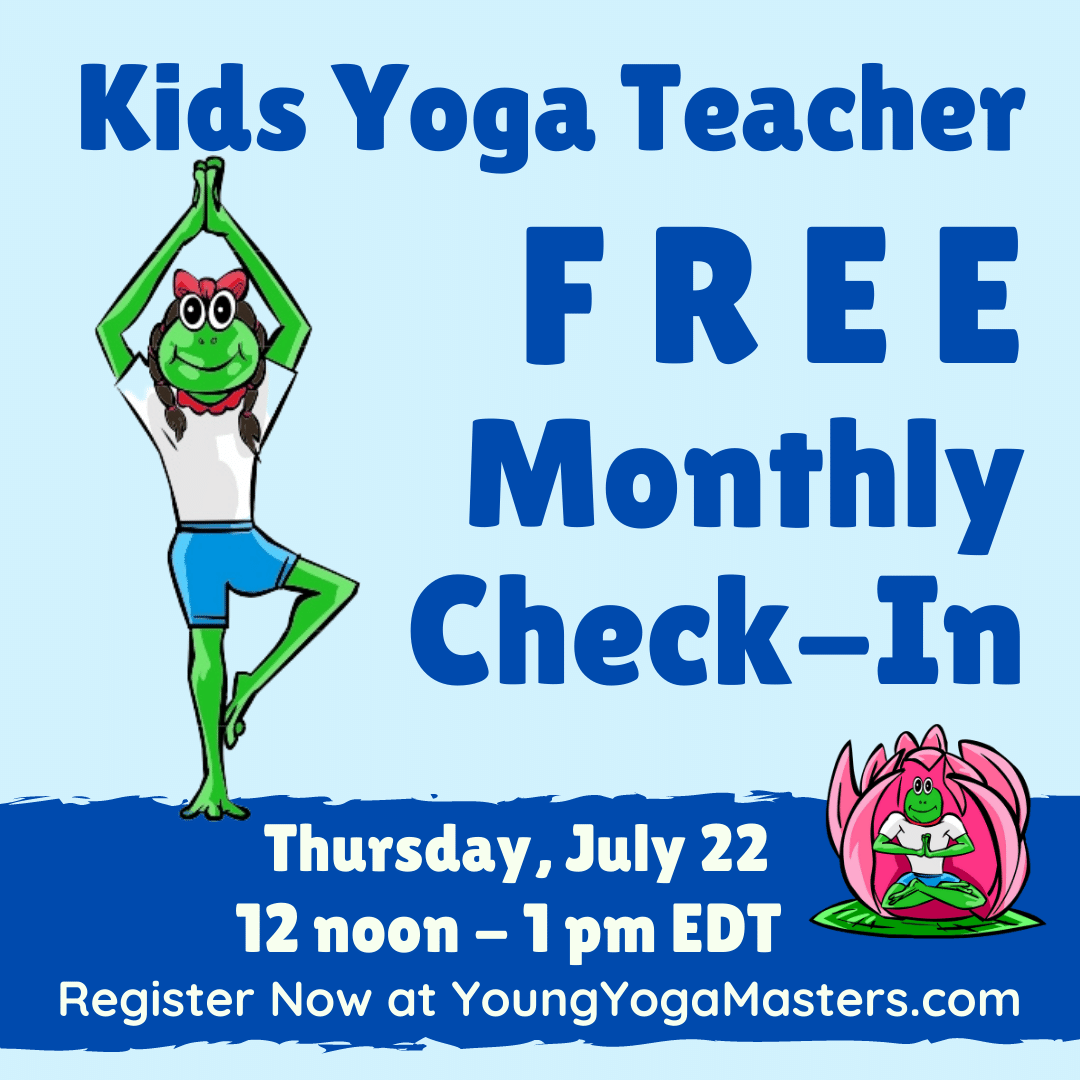 A frog cartoon doing tree pose beside the Free Monthly kids yoga teacher check-in poster