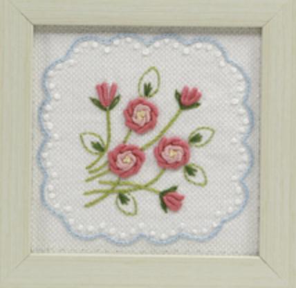 薔薇の刺繍フォトフレーム