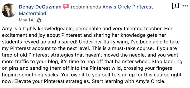 Amy Locurto Pinterest Mastermind Recommendation