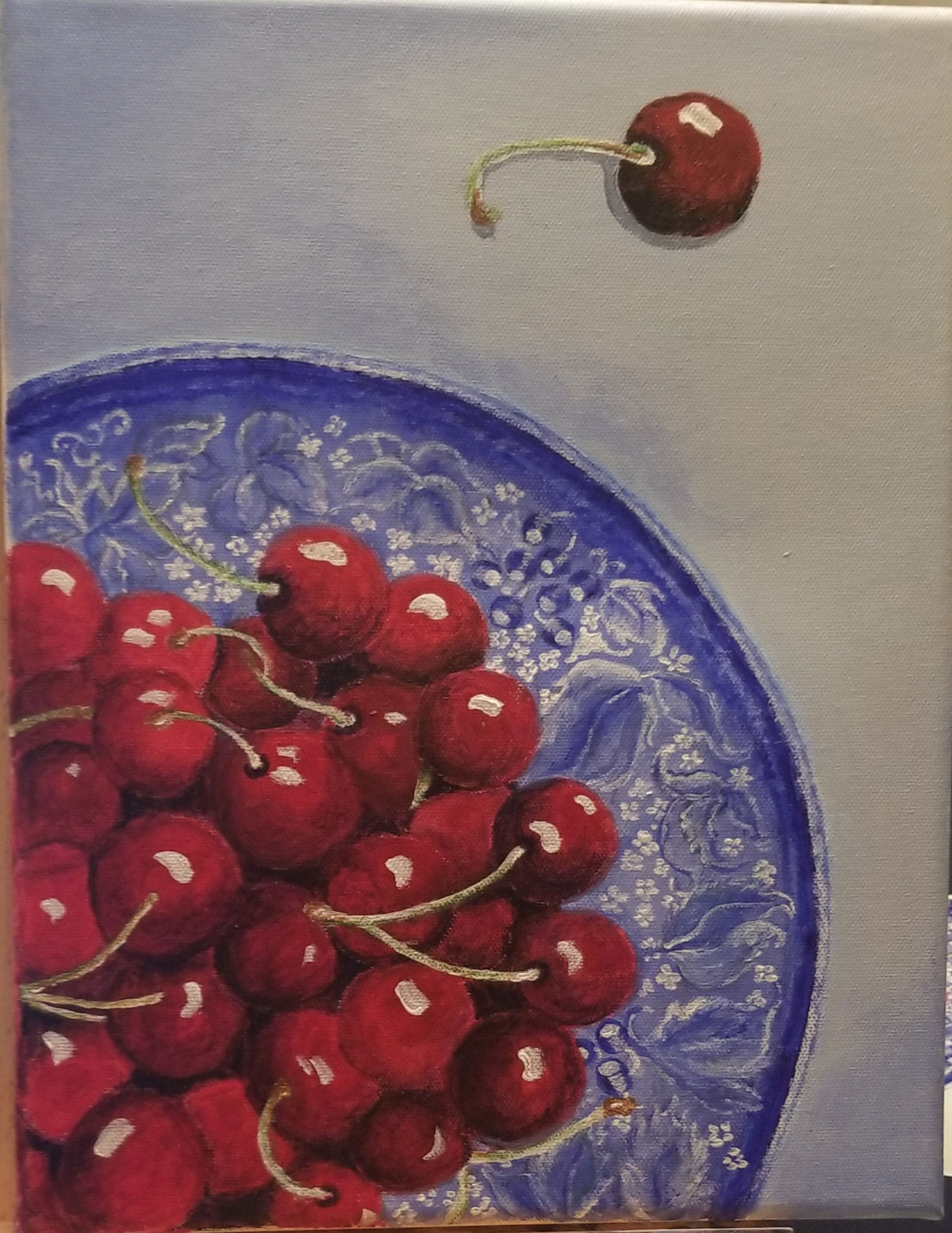 Acrylic painting of a plate of cherries, testimonial from student, Marie Lynch of RL Caldwell Studio