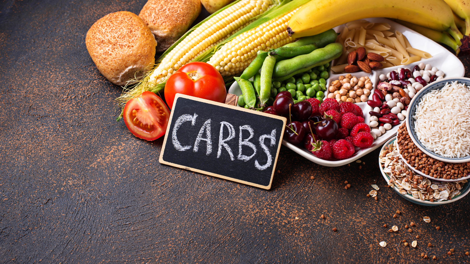 Images of carbohydrates like corn, rice and fruit