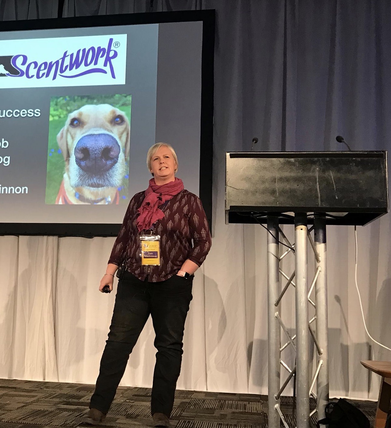 Pam Mackinnon speaking at Woof conf