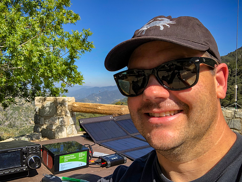 Chris Mattia - W6AH operating a ham radio in the mountains above Los Angeles California.