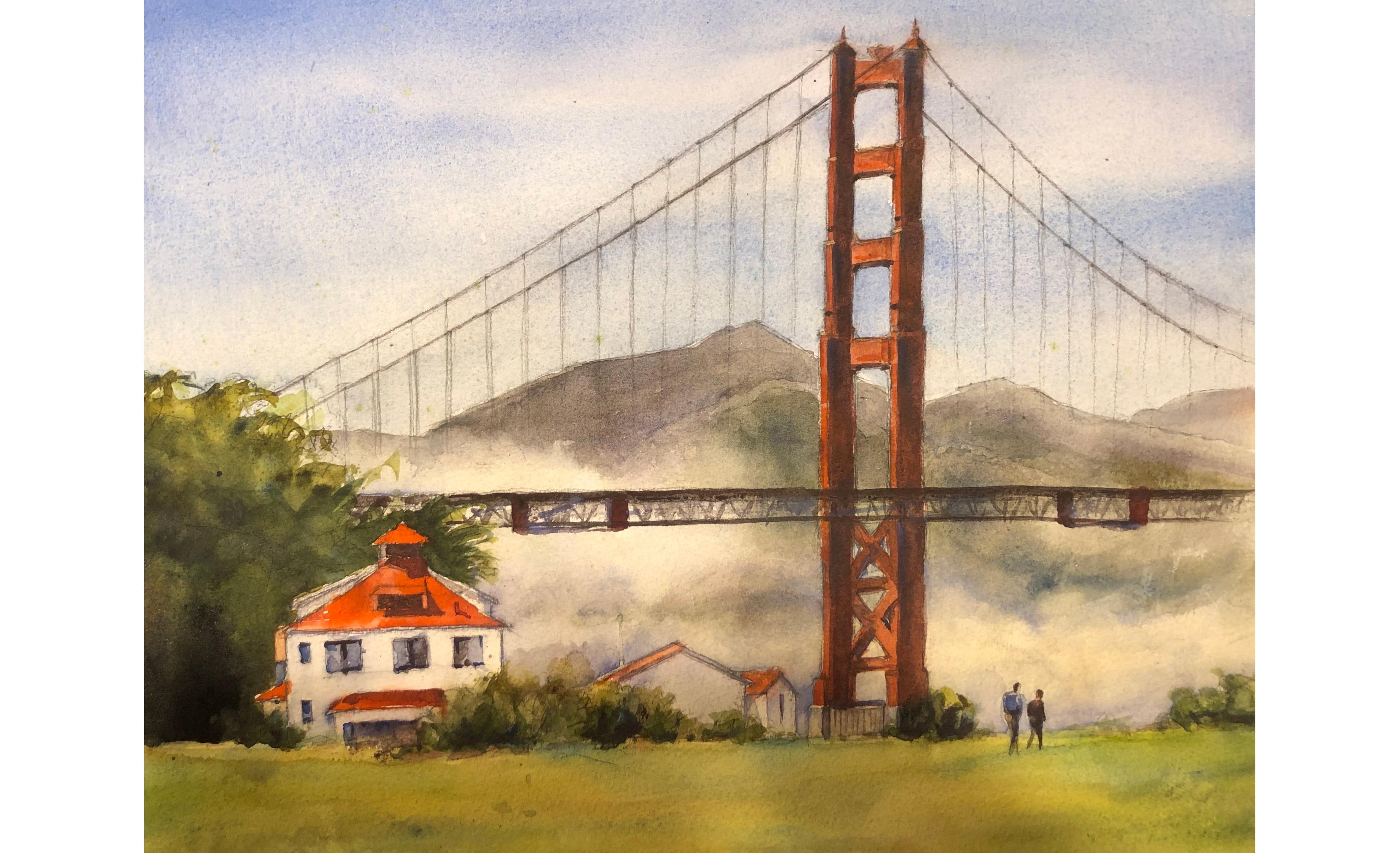 Golden Gate Bridge (Crissy Field) painting by Jana Parkin