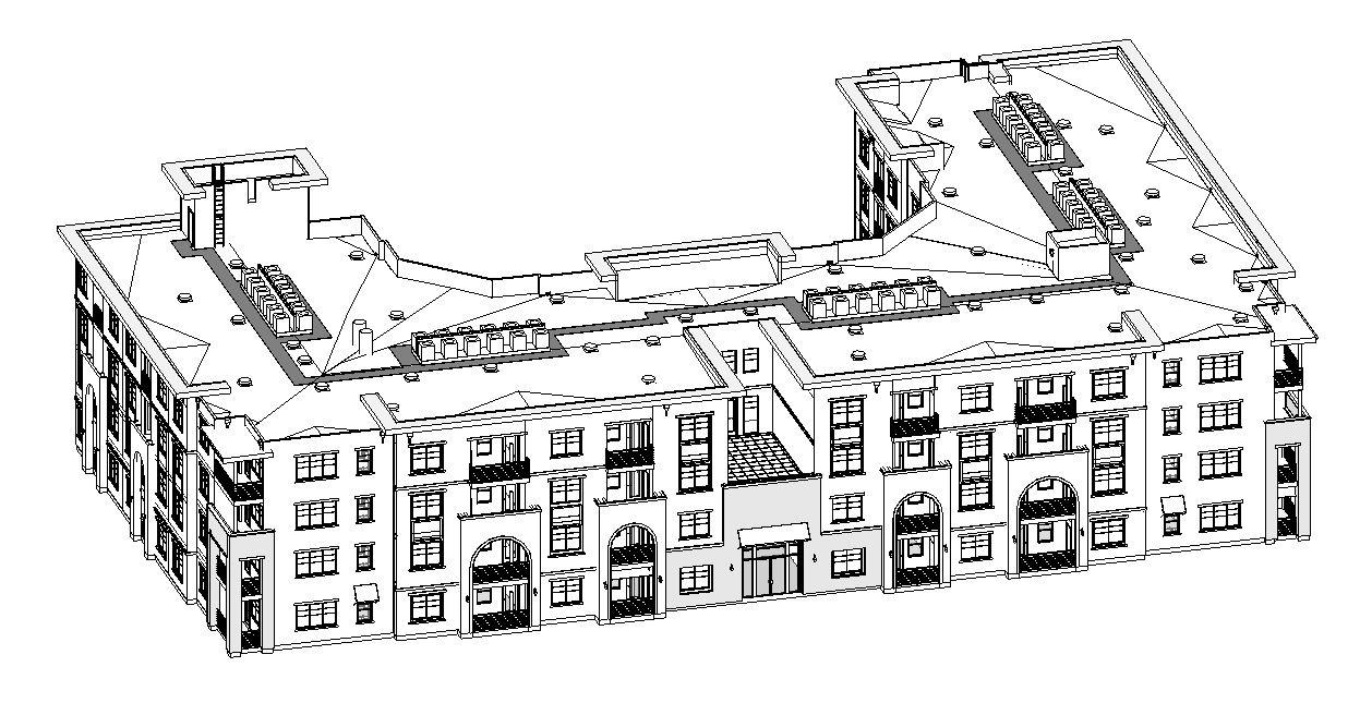 Building modeled in Revit