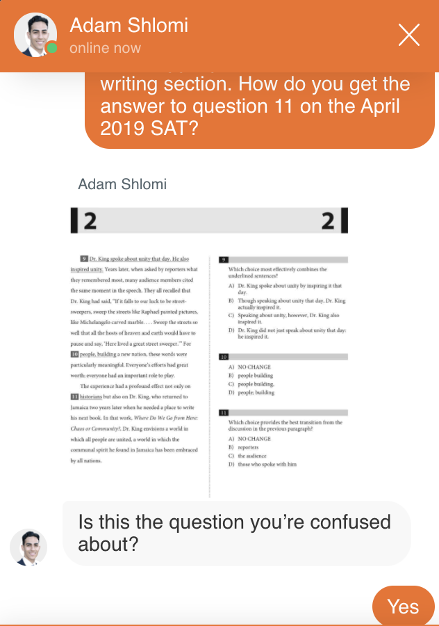 Live chat with SAT Tutor feature