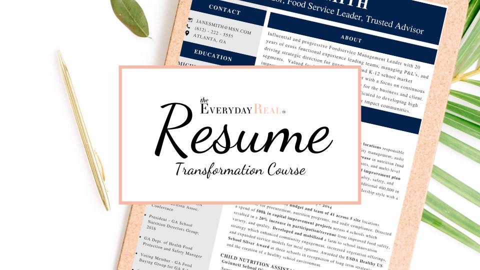 Resume transformation