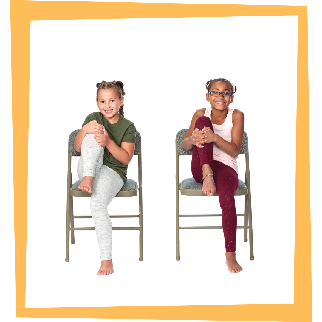 children practicing yoga while seated in a chair