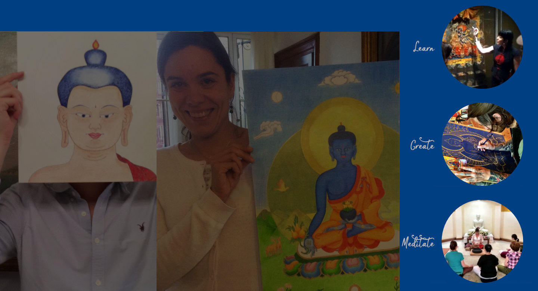 Thangka Course Bundle Drawing the Buddha Face! + Medicine Buddha Thangka Art Course