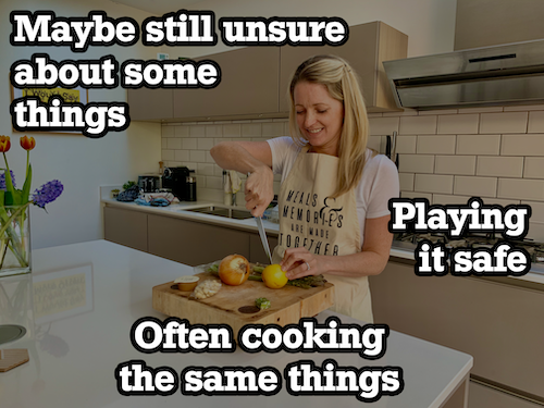 unsure woman cooking with text overlay