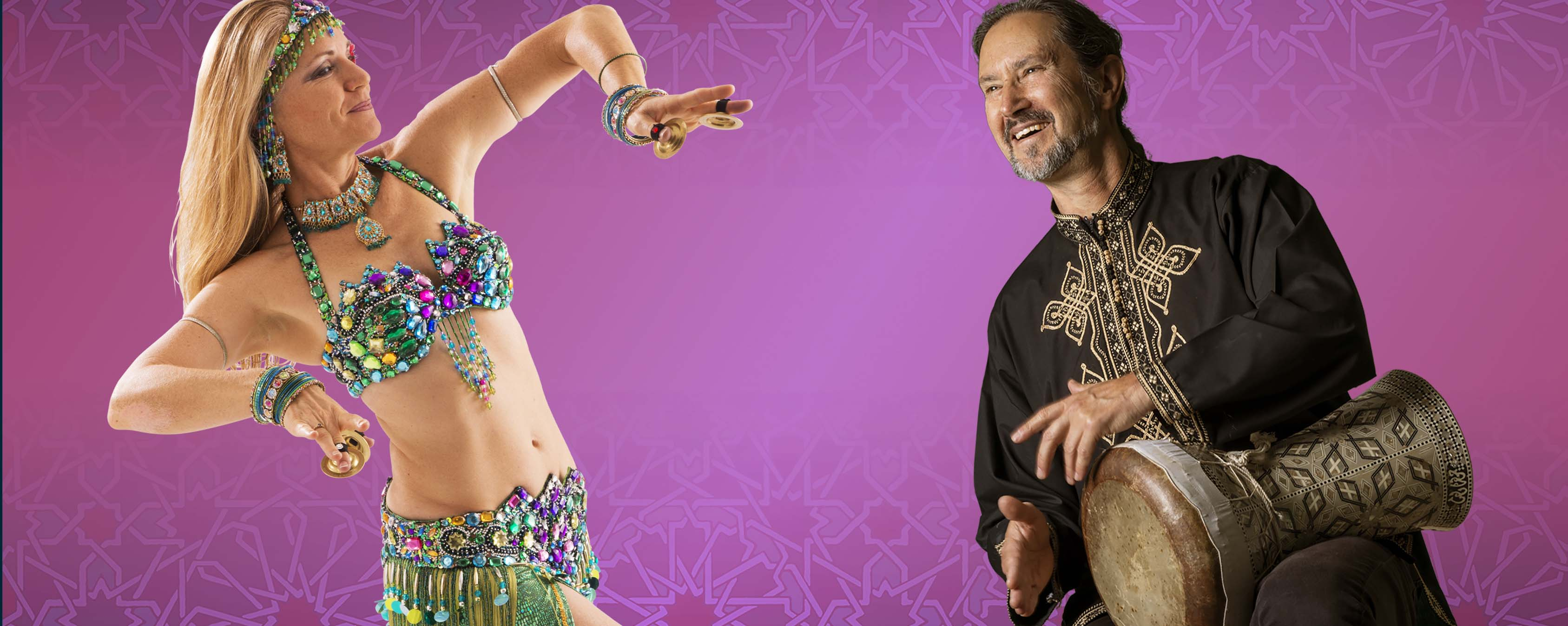 belly dancer Jensuya and drummer Robert Peak introducing beginner online belly dance course