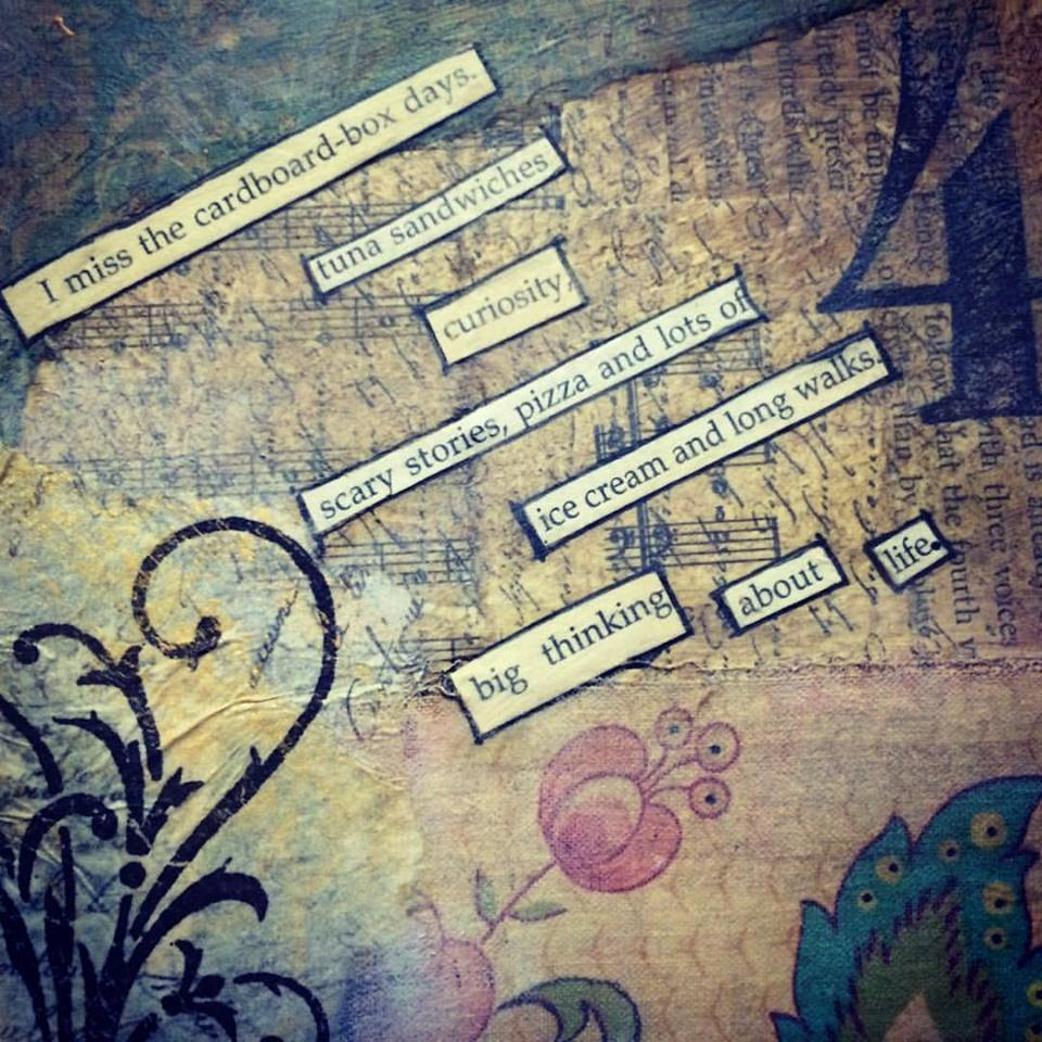 mixed media art with a found word story