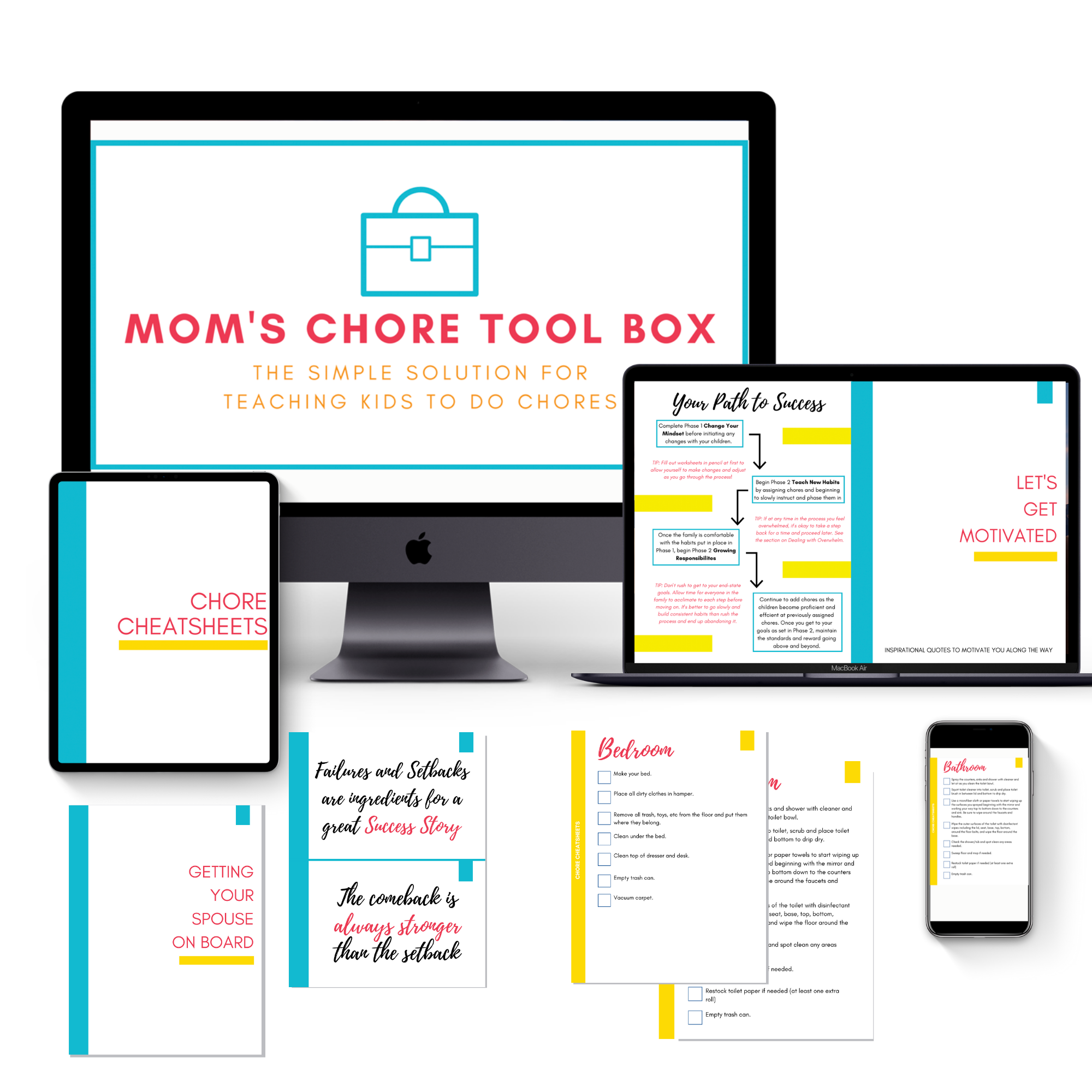 mock up of mom's chore tool box online course