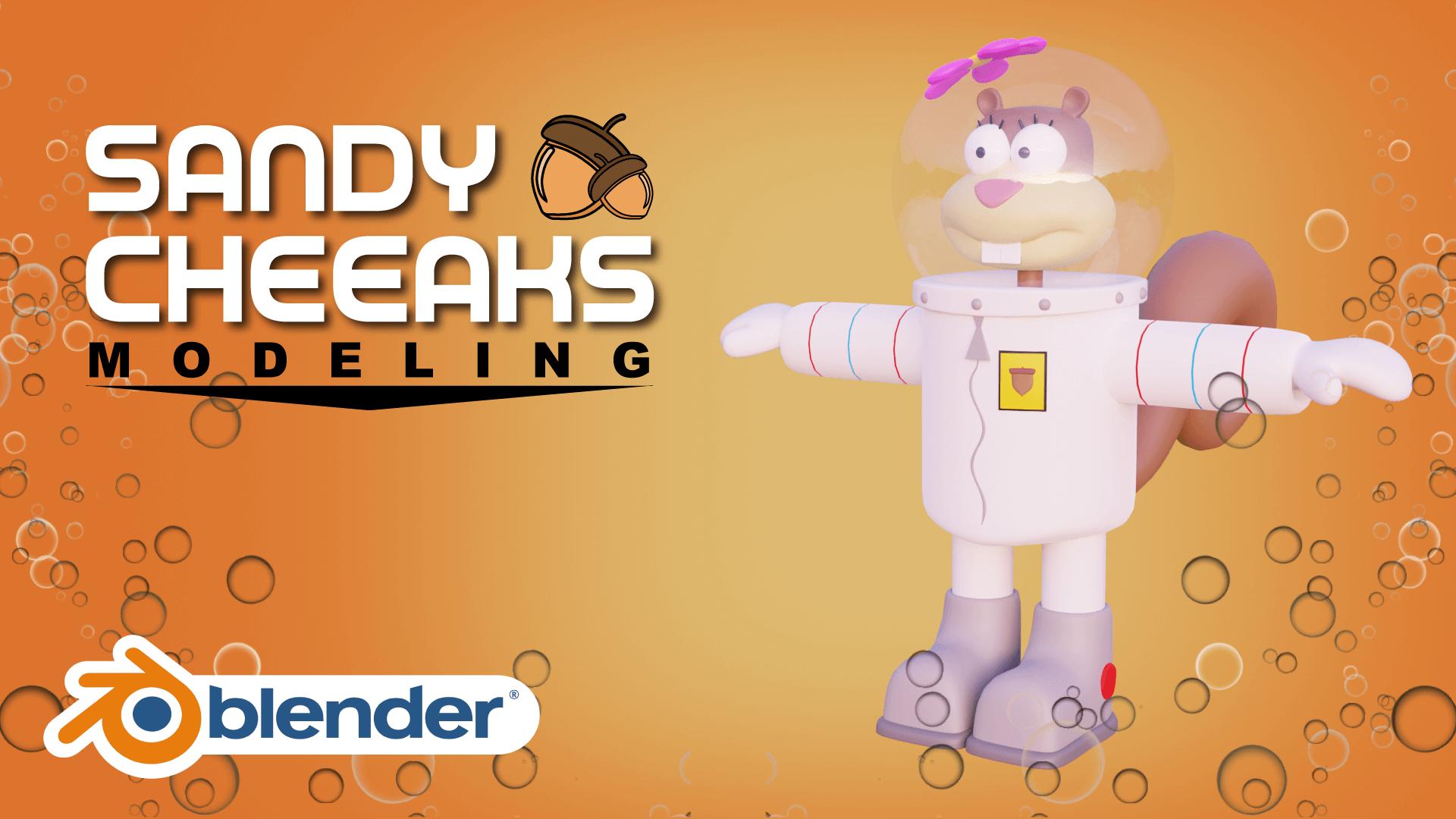 Sandy Cheeaks Sponge Bob Square Pants 3D Model Blender Academy Course