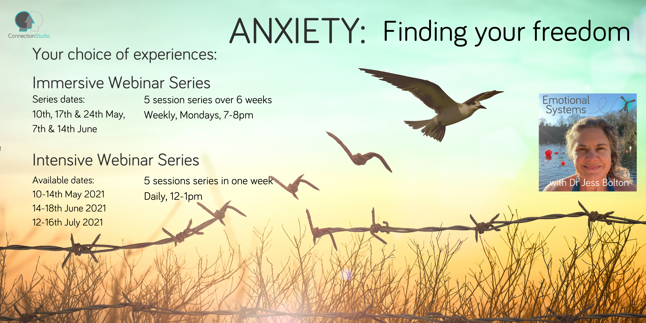 Anxiety Find your Freedom webinar dates and times