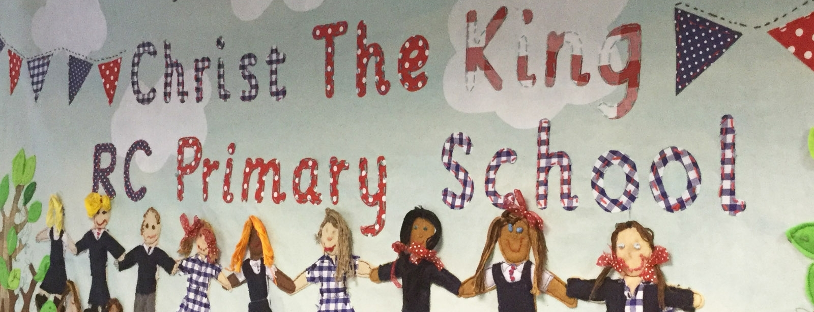 christ the king school banner with artwork