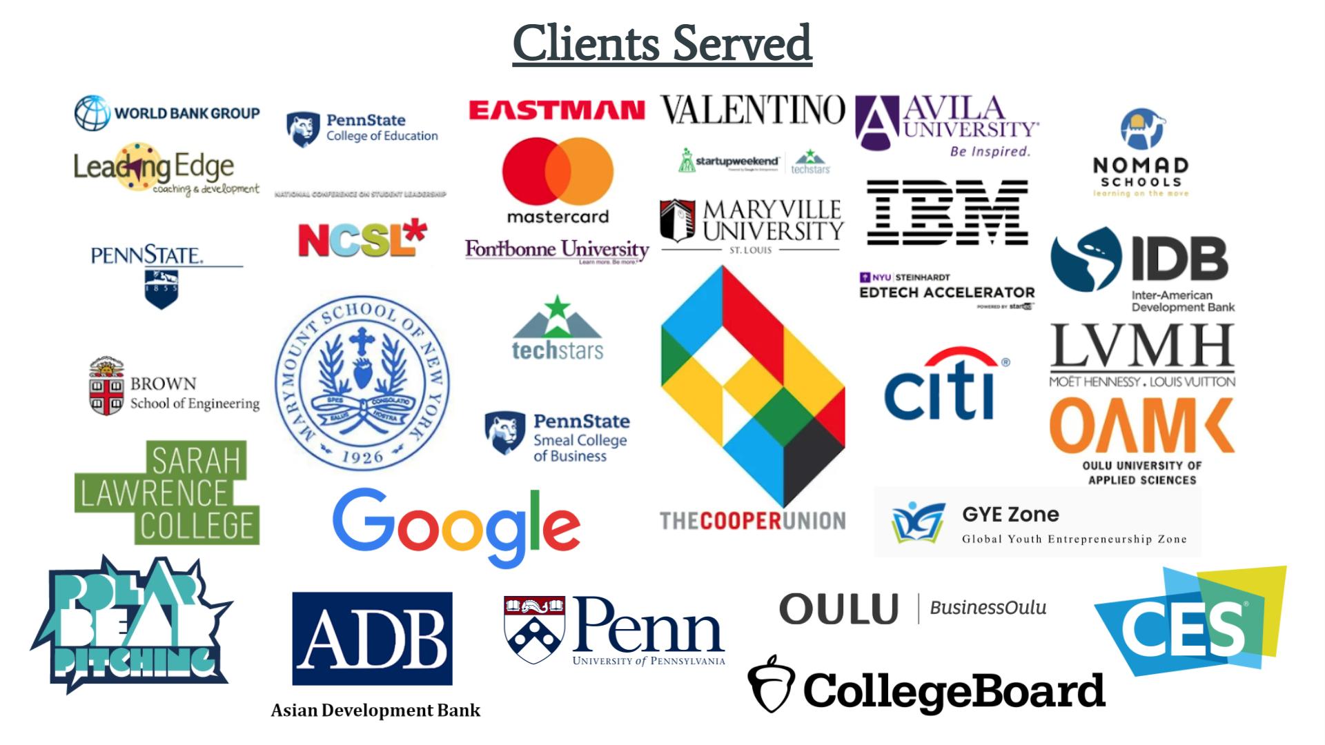 Clients served IBM Google University of Pennsylvania LVMH Penn State CES CollegeBoard Asian Development Bank World Bank Group InterAmerican Development Bank NYU Techstars