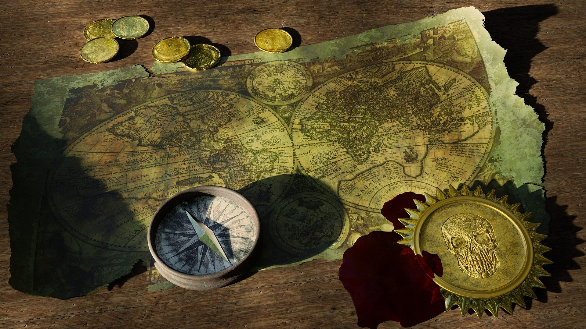 map and coins