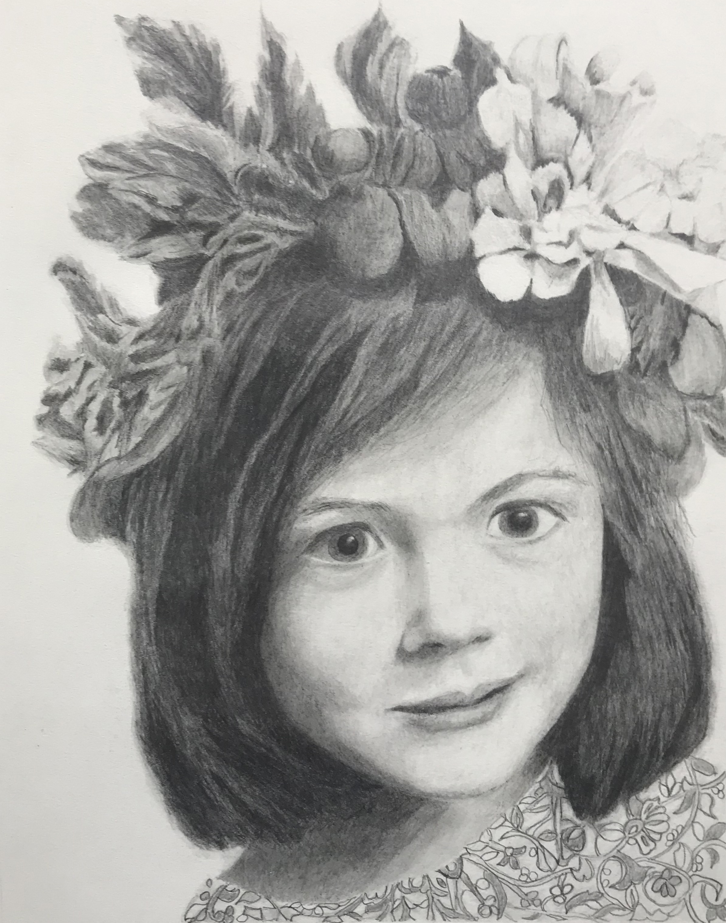 Graphite drawing of a young girl, testimonial from student, Susan Westfall of RL Caldwell Studio