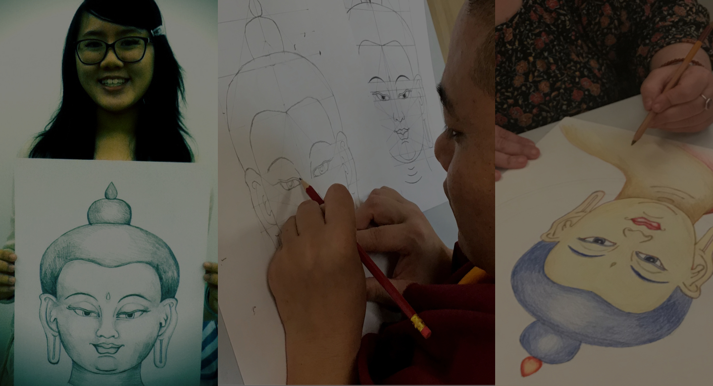 Buddha face drawing happy people showing theur artwork