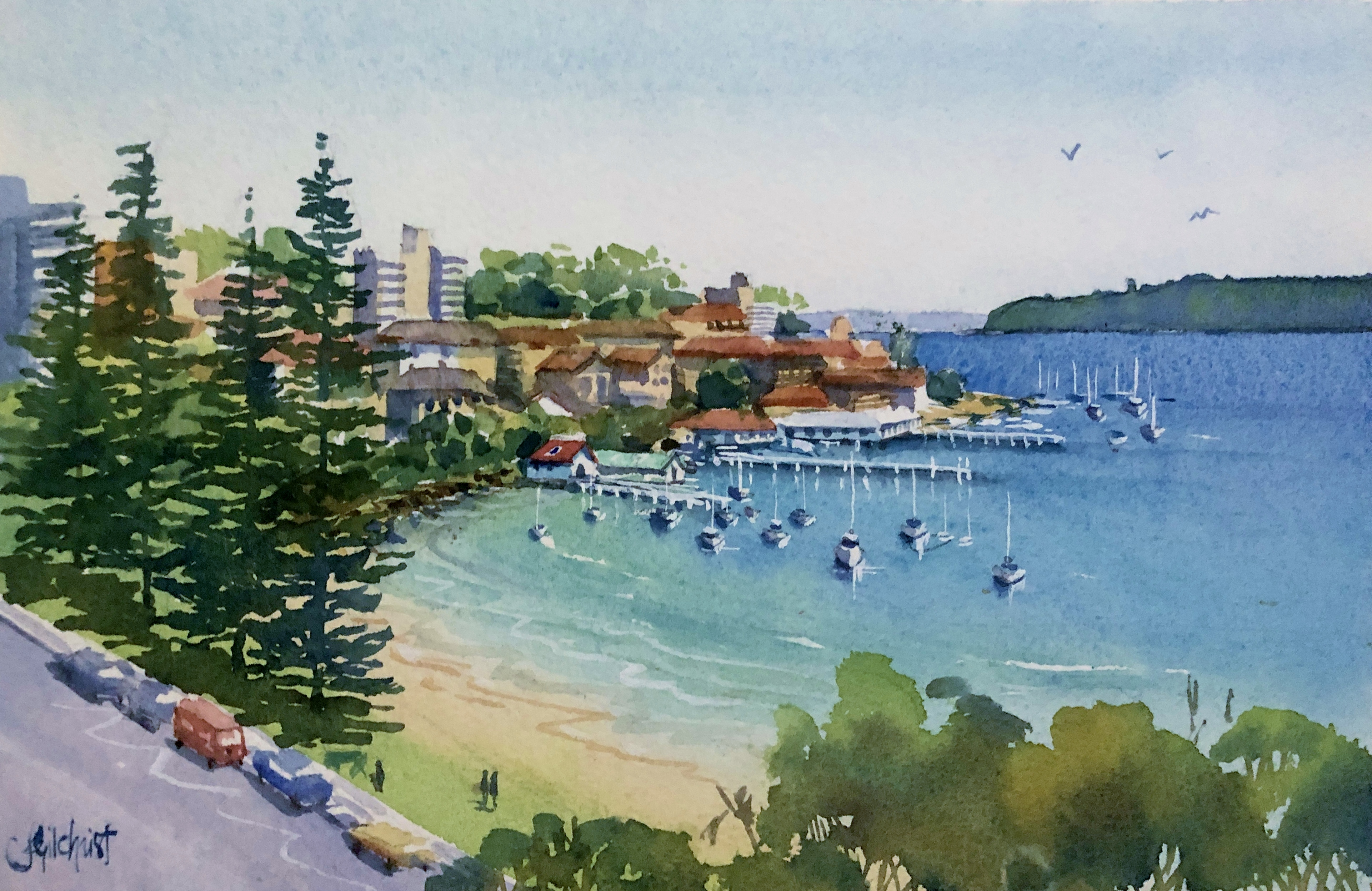 Watercolour Painting of Manly Cove Beach, Sydney, by Jenny Gilchrist and Northern Beaches Watercolour.