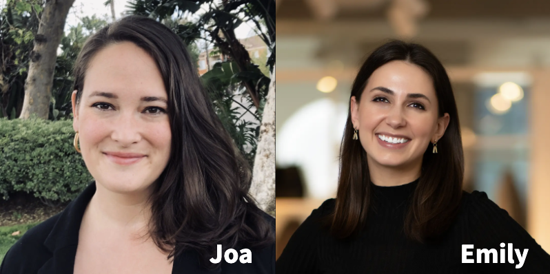 headshots of two women, Joa and Emily, smiling at camera with captioned names