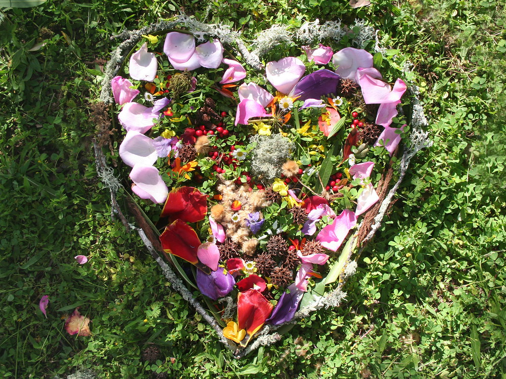 Heart made with flowers