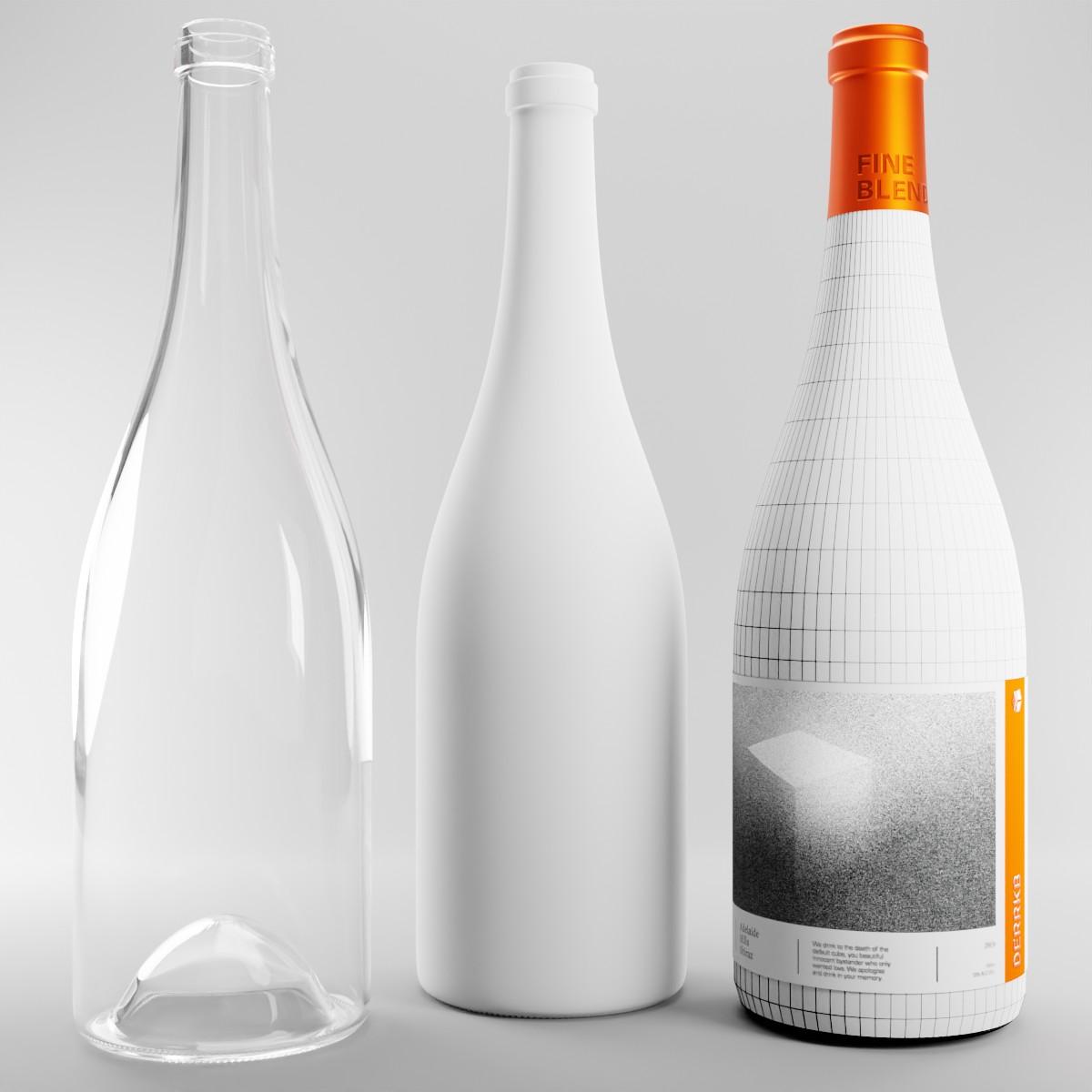 wireframe of wine bottle