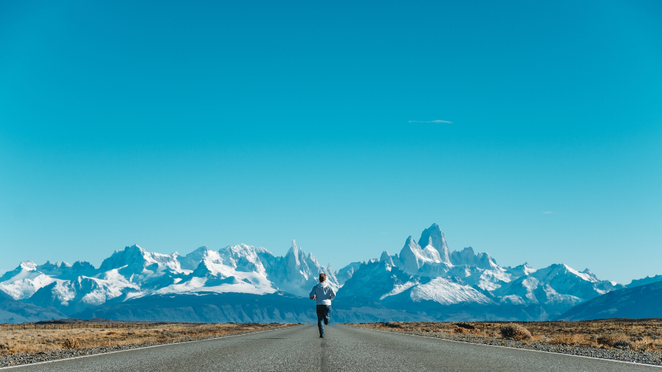 Runner with Mountain View