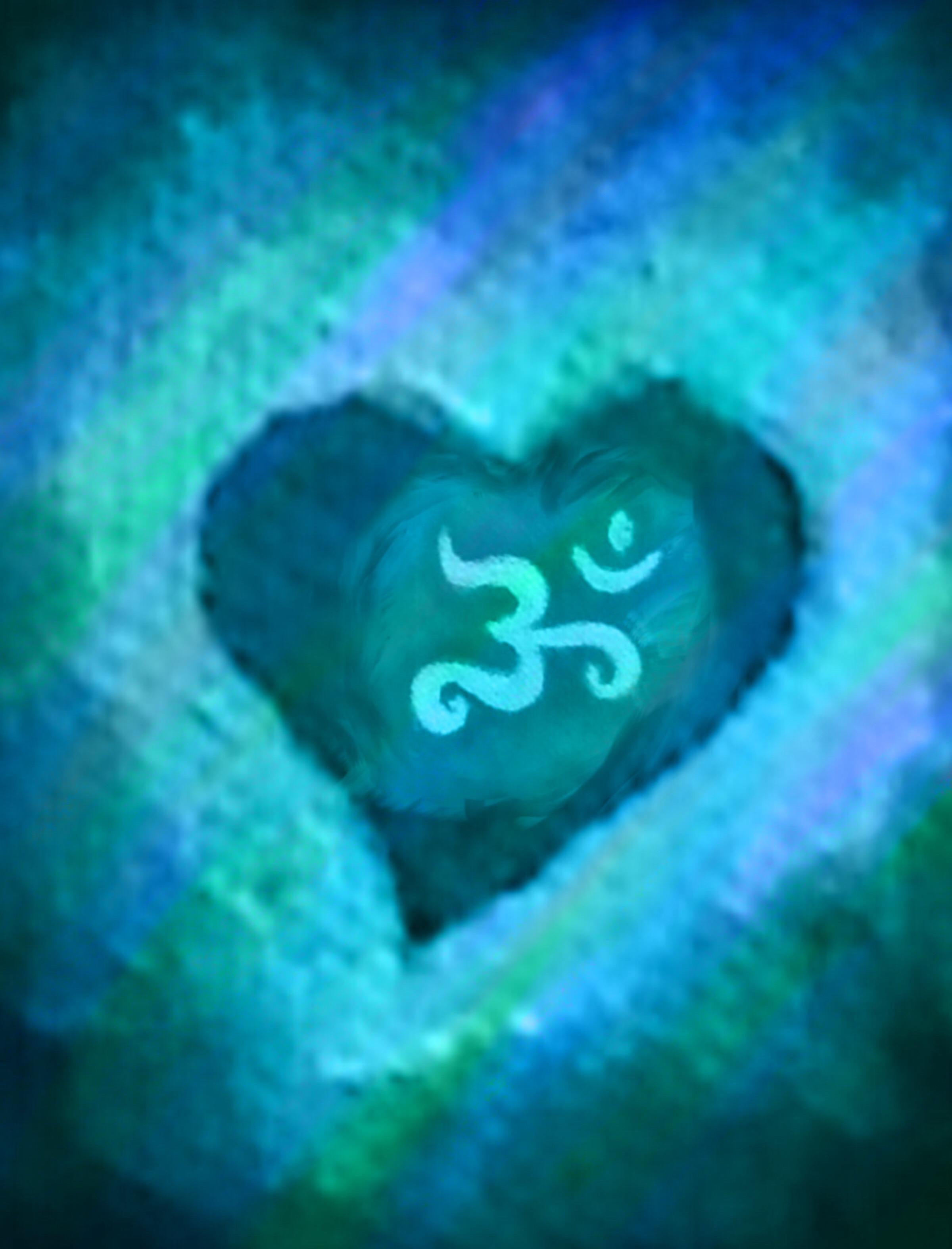 Blue Om & Heart - art by Hilary Oak